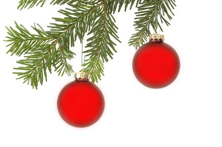Christmass balls hanging in a christmas tree photo