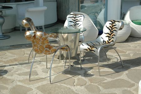 Trendy table and chairs. photo