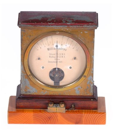 Old ampere meter from 1909. Taken on clean white background. Stock Photo - 691572