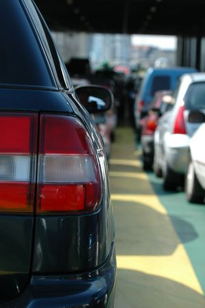 Cars waiting in the heavy traffic. Stock Photo