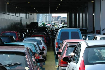 Cars waiting in the heavy traffic photo