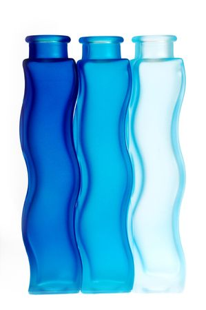 Blue bottles in a row photo