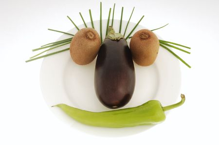Face made of different kind of vegetables. Stock Photo - 871239