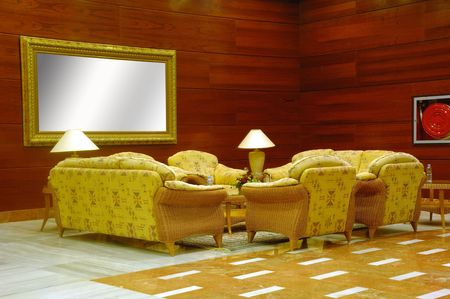 Hotel lobby. Whit table, chairs and sofas photo