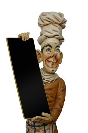 menue: Chef is holding a blank menue sign. Insert your own text.