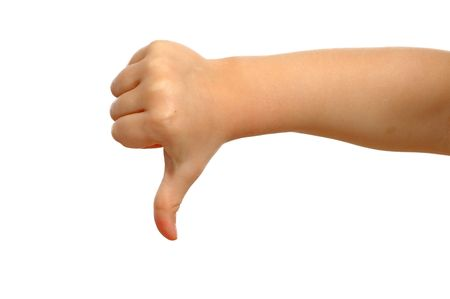 Small hand is showing thumb down. photo