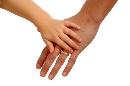Las manos de una madre y un niño las manos