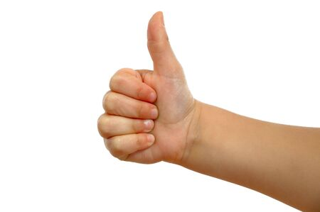 Small hand showing thumb up photo