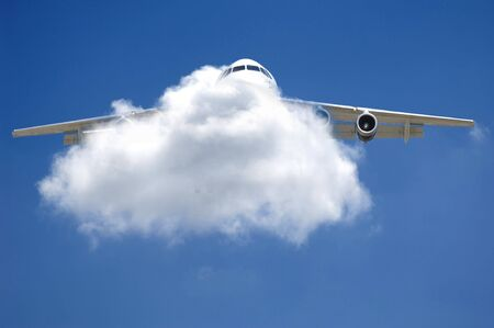 Plane is flying through a cloud. Stock Photo - 959072