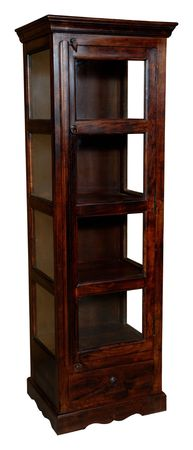Brown tall cupboard with glass door photo
