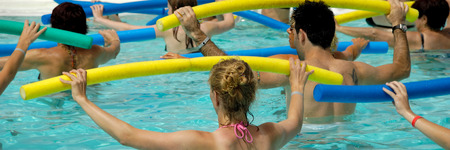 water aerobics: People are doing water aerobic in pool. 1:3 Stock Photo