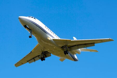 privat: A privat jet is about to land. Stock Photo