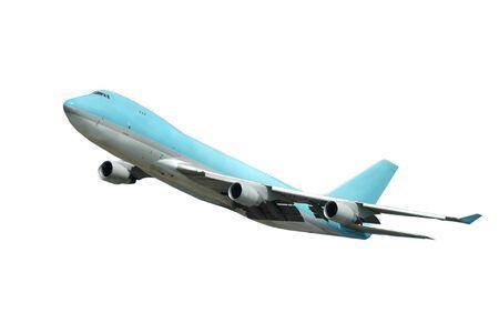 takeoff: Jumbo decollo su un fondo bianco pulito.