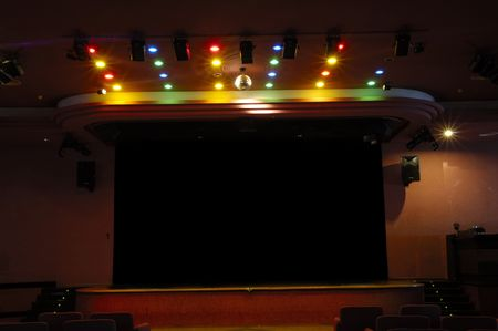 Empty Stage with disco lights photo