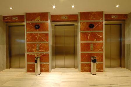 Elevator doors in modern hotel photo