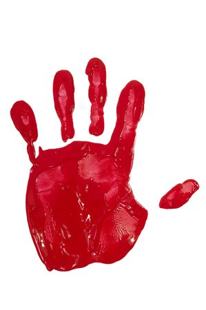 A hand print with red paint Stock Photo