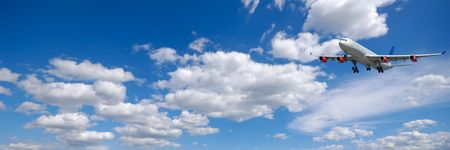 cloudscape: Plane and cloudscape and blue sky