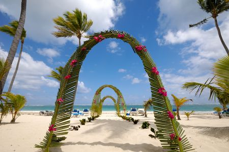 archway on tropical beach. Stock Photo