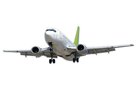 takeoff: Aereo isolato su un fondo bianco. Archivio Fotografico