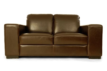Brown leather sofa on a clrean white background Stock Photo