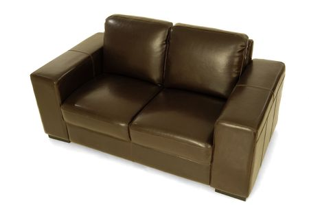 Brown leather sofa on a clrean white background photo
