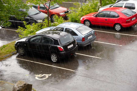 parked: Parked cars in rain