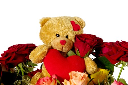 Bouquet of rose flowers isolated on white background. A teddy bear is sitting ontop of the flowers. photo