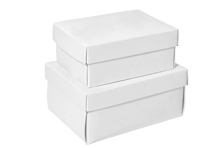 corrugated cardboard: A pile of white boxes isolated on a clean white background.
