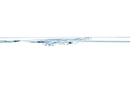 fluid: Water surface with small air bubbles isolated on a white background. Stock Photo
