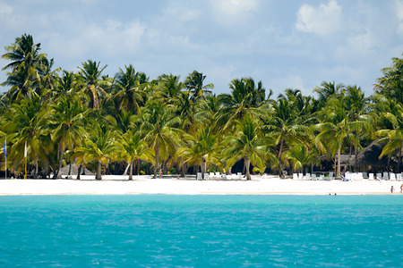 Caribbean island with a nice beach and green palms. The picture of the beach is taken from a boat on sea. photo