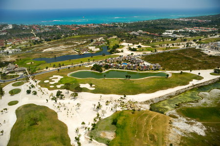 fairway: Flying above a golf course at an exotic destination