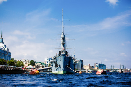 defended: Cruiser Aurora Stock Photo