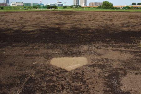 baseball field: Baseball field of dry riverbed Stock Photo
