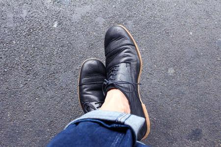 feet crossed: Crazy Waiting braided feet Stock Photo