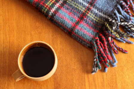 wool rugs: Blanket and coffee Stock Photo