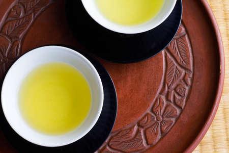 red green: green tea Stock Photo
