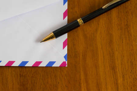 air mail: Air mail and pen Stock Photo