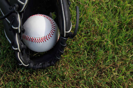 outfield: Baseball ball and glove