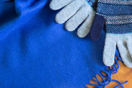 muffler: Blue muffler and gloves Stock Photo