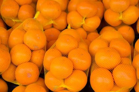 mandarin orange: Mandarin orange that entered the mesh bag Stock Photo