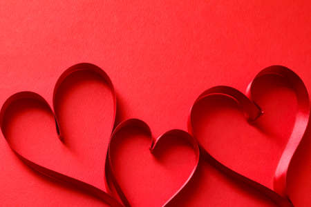 Image of red ribbon and heart love