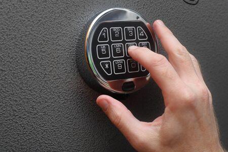 Hand opening digital lock on safe