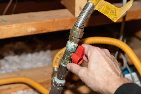 Hand turning safety shut off valve of a natural gas pipe