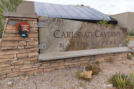 Sign for Carlsbad Caverns National Park in New Mexico