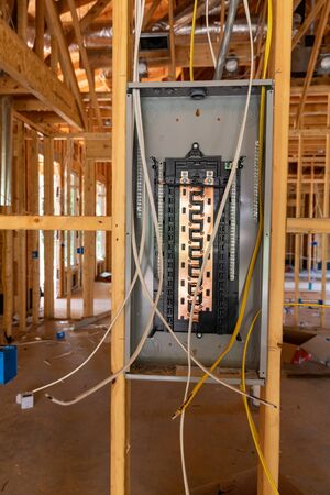 Electrical Circuit Breaker panel in new home construction