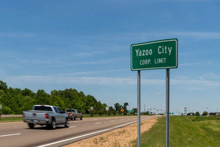 Yazoo City, MS/ USA: Yazoo City Corp limit sign. Gateway to the Delta