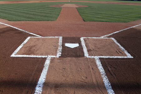 Baseball Home Plate batters box with fresh chalk lines