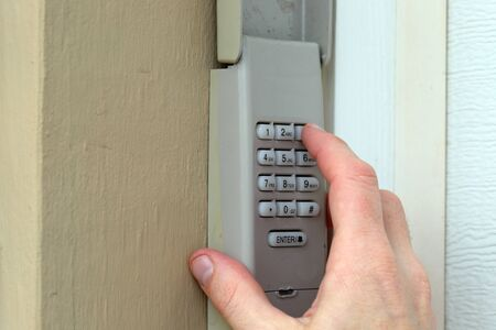 Code Keypad used on a garage door entrance to a home - security keypad - security code Foto de archivo