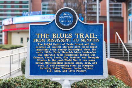 Memphis, TN / USA: The Blue Trail marker in downtown Memphis, TN
