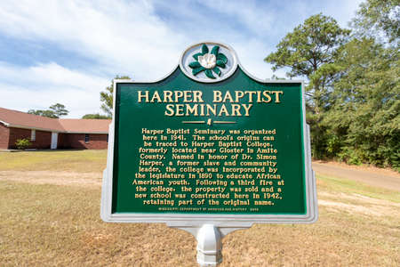 Magnolia, MS - USA: Harper Baptist Seminary Historical Marker 版權商用圖片 - 150041290